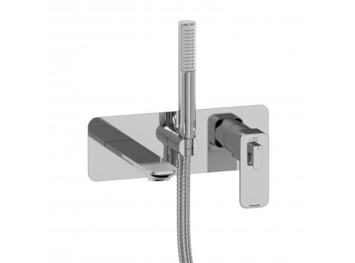 Riobel -Wall-mount coaxial tub filler with hand shower - EQ21C Chrome