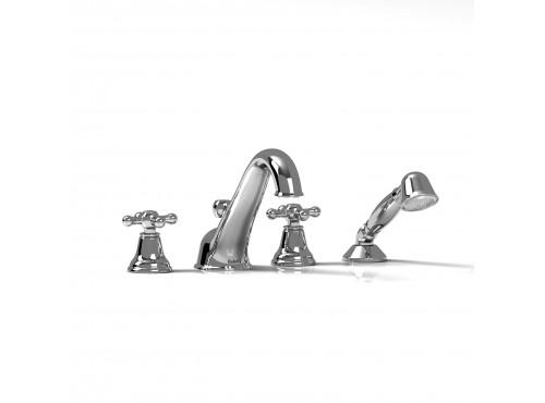 Riobel -4-piece deck-mount tub filler with hand shower - GN12+