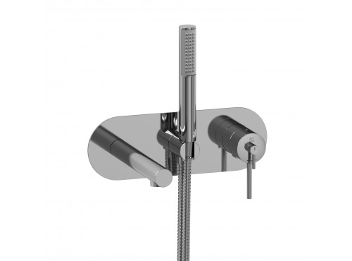 Riobel -Wall-mount coaxial tub filler with hand shower - GS21C Chrome