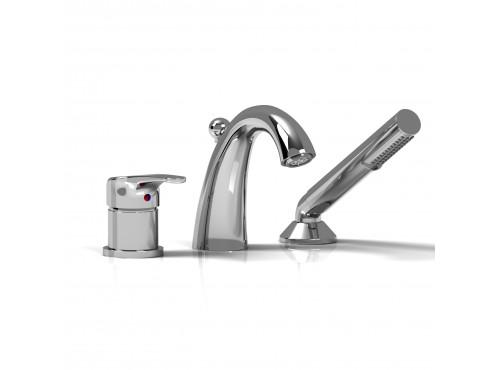 Riobel -3-piece deck-mount tub filler with hand shower - JO10C Chrome