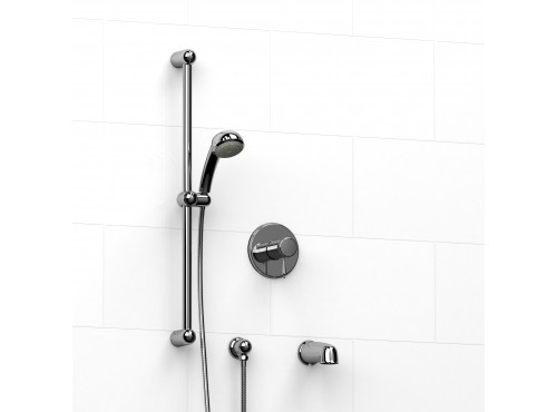 """Riobel -½"""" 2-way coaxial system with spout and hand shower rail - KIT#1223GN"""