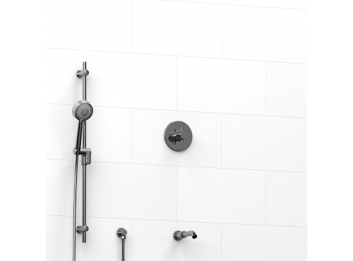 """Riobel -½"""" 2-way coaxial system with spout and hand shower rail - KIT#1223PATM+"""