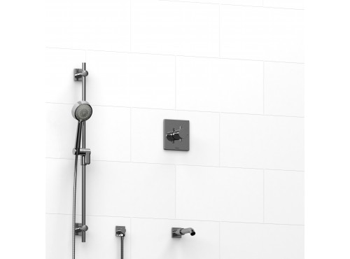 """Riobel -½"""" 2-way coaxial system with spout and hand shower rail - KIT#1223PATQ+"""