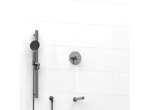 "Riobel -½"" 2-way coaxial system with spout and hand shower rail - KIT#1223PXTM"