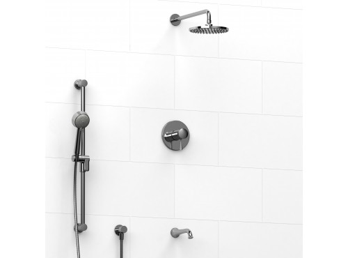 Riobel -½'' coaxial 3-way system with hand shower rail, shower head and spout - KIT#1345EDTM