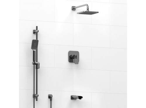 Riobel -½'' coaxial 3-way system with hand shower rail, shower head and spout - KIT#1345EQ