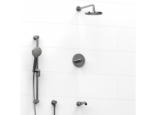 Riobel -½'' coaxial 3-way system with hand shower rail, shower head and spout - KIT#1345GS