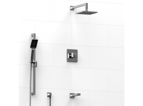 Riobel -½'' coaxial 3-way system with hand shower rail, shower head and spout - KIT#1345KSTQ