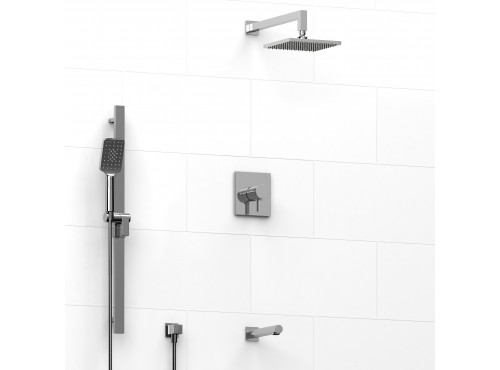 Riobel -½'' coaxial 3-way system with hand shower rail, shower head and spout - KIT#1345PXTQ