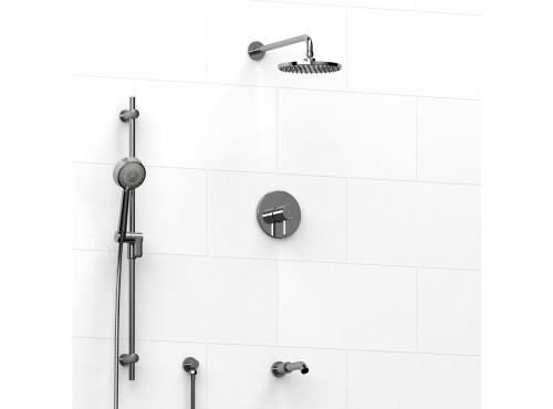 Riobel -½'' coaxial 3-way system with hand shower rail, shower head and spout - KIT#1345SHTM