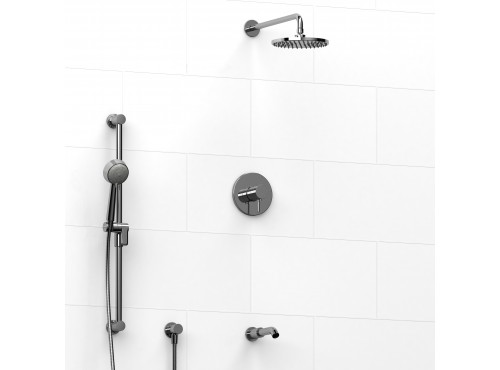 Riobel -½'' coaxial 3-way system with hand shower rail, shower head and spout - KIT#1345SYTM
