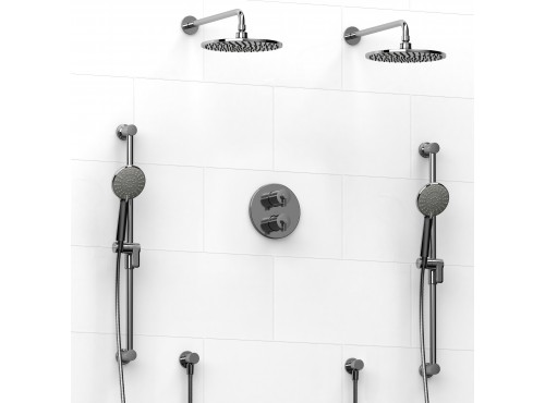 Riobel -Type T/Pdouble coaxial system with 2 hand shower rails, elbow supply and 2 shower heads - KIT#1546