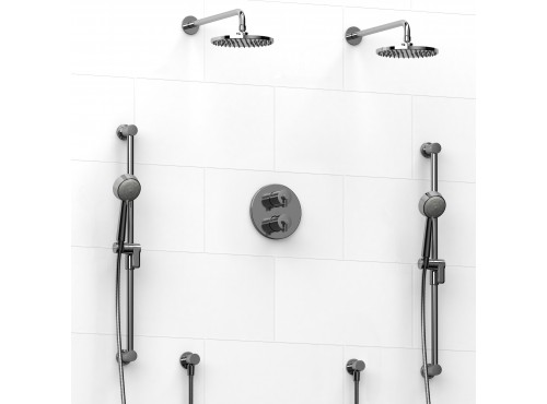 Riobel -Type T/Pdouble coaxial system with 2 hand shower rails, elbow supply and 2 shower heads - KIT#1546CSTM