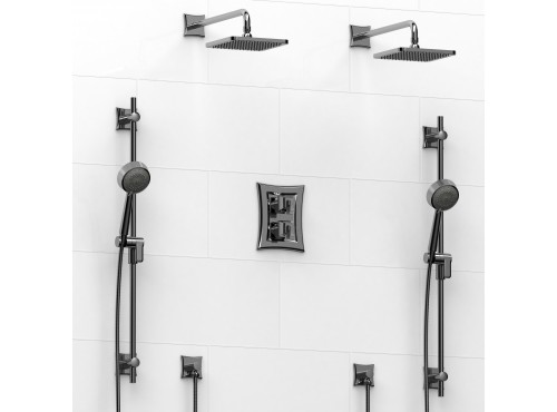 Riobel -Type T/Pdouble coaxial system with 2 hand shower rails, elbow supply and 2 shower heads - KIT#1546EF