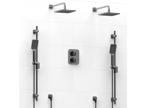 Riobel -Type T/Pdouble coaxial system with 2 hand shower rails, elbow supply and 2 shower heads - KIT#1546EQ