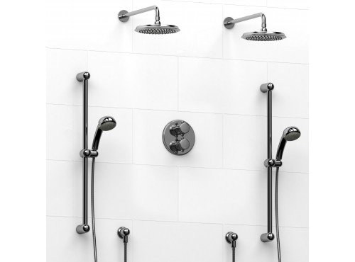 Riobel -Type T/Pdouble coaxial system with 2 hand shower rails, elbow supply and 2 shower heads - KIT#1546GN+