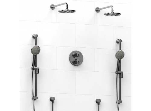Riobel -Type T/Pdouble coaxial system with 2 hand shower rails, elbow supply and 2 shower heads - KIT#1546GS