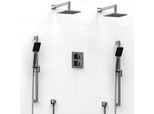 Riobel -Type T/Pdouble coaxial system with 2 hand shower rails, elbow supply and 2 shower heads - KIT#1546KST