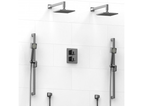 Riobel -Type T/Pdouble coaxial system with 2 hand shower rails, elbow supply and 2 shower heads - KIT#1546MZ