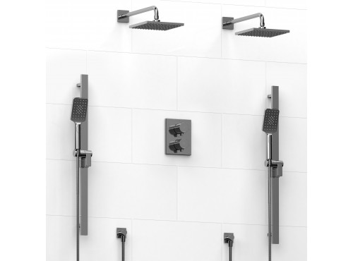Riobel -Type T/Pdouble coaxial system with 2 hand shower rails, elbow supply and 2 shower heads - KIT#1546PFTQ