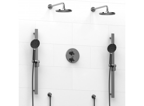 Riobel -Type T/Pdouble coaxial system with 2 hand shower rails, elbow supply and 2 shower heads - KIT#1546PXTM