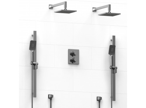 Riobel -Type T/Pdouble coaxial system with 2 hand shower rails, elbow supply and 2 shower heads - KIT#1546PXTQ