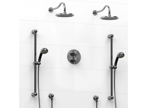 Riobel -Type T/Pdouble coaxial system with 2 hand shower rails, elbow supply and 2 shower heads - KIT#1546RO+