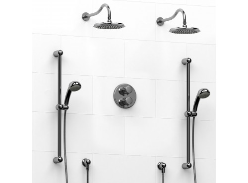 Riobel -Type T/Pdouble coaxial system with 2 hand shower rails, elbow supply and 2 shower heads - KIT#1546RO