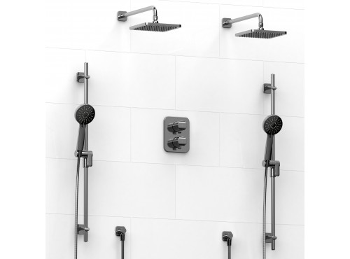 Riobel -Type T/Pdouble coaxial system with 2 hand shower rails, elbow supply and 2 shower heads - KIT#1546SA