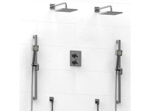 Riobel -Type T/Pdouble coaxial system with 2 hand shower rails, elbow supply and 2 shower heads - KIT#1646