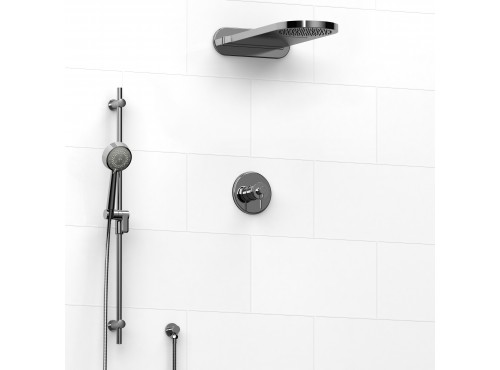 Riobel -½'' coaxial 3-way system with hand shower rail and rain and cascade shower head - KIT#2745ATOP