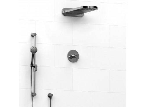 Riobel -½'' coaxial 3-way system with hand shower rail and rain and cascade shower head - KIT#2745CSTM