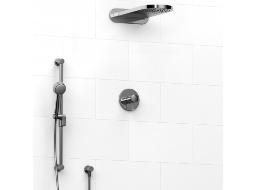 Riobel -½'' coaxial 3-way system with hand shower rail and rain and cascade shower head - KIT#2745EDTM