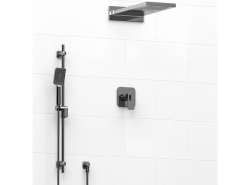 Riobel -½'' coaxial 3-way system with hand shower rail and rain and cascade shower head - KIT#2745EQ