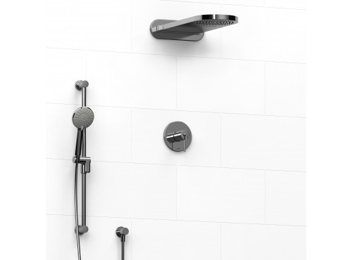 Riobel -½'' coaxial 3-way system with hand shower rail and rain and cascade shower head - KIT#2745GS