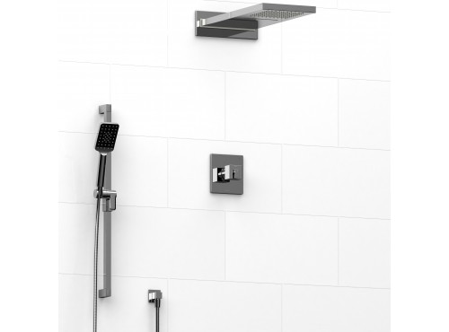 Riobel -½'' coaxial 3-way system with hand shower rail and rain and cascade shower head - KIT#2745KSTQ