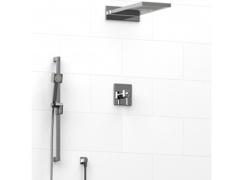 Riobel -½'' coaxial 3-way system with hand shower rail and rain and cascade shower head - KIT#2745MZ