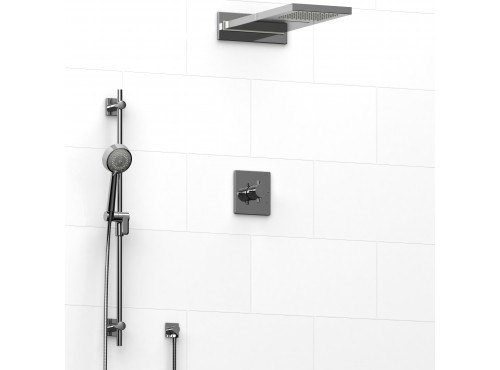 Riobel -½'' coaxial 3-way system with hand shower rail and rain and cascade shower head - KIT#2745PATQ+