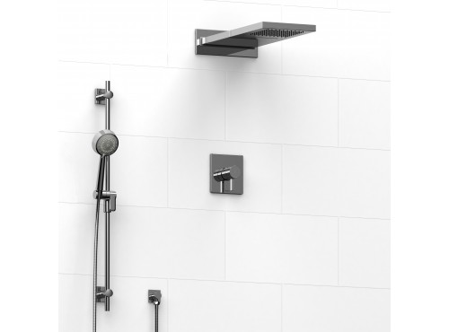 Riobel -½'' coaxial 3-way system with hand shower rail and rain and cascade shower head - KIT#2745PFTQ