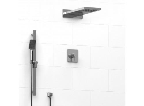 Riobel -½'' coaxial 3-way system with hand shower rail and rain and cascade shower head - KIT#2745PXTQ