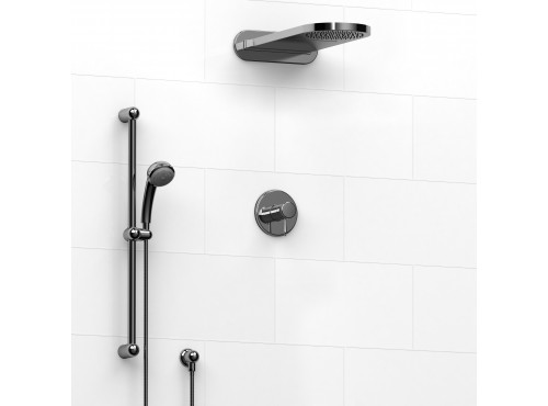 Riobel -½'' coaxial 3-way system with hand shower rail and rain and cascade shower head - KIT#2745RT
