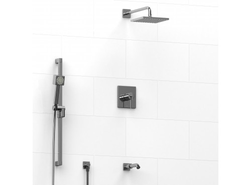 Riobel -½'' coaxial 3-way system with hand shower rail, shower head and spout - KIT#2845