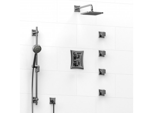 Riobel -double coaxial system with hand shower rail, 4 body jets and shower head - KIT#446EF
