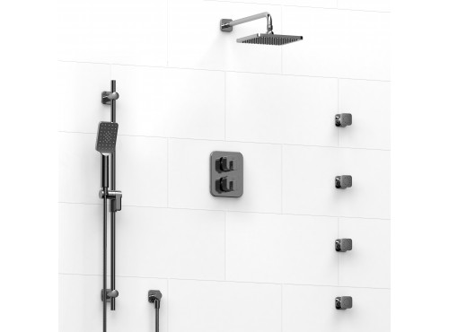 Riobel -double coaxial system with hand shower rail, 4 body jets and shower head - KIT#446EQ