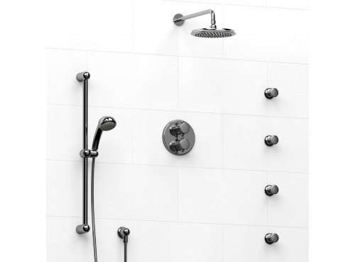 Riobel -double coaxial system with hand shower rail, 4 body jets and shower head - KIT#446GN+