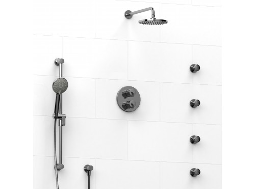 Riobel -double coaxial system with hand shower rail, 4 body jets and shower head - KIT#446GS
