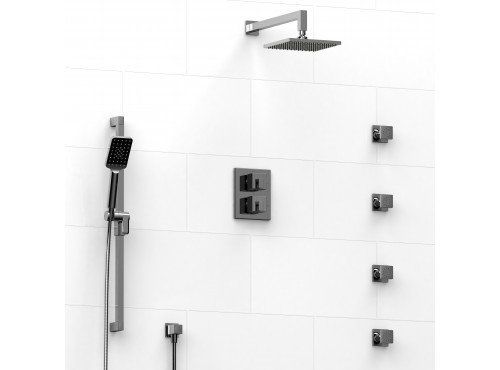 Riobel -double coaxial system with hand shower rail, 4 body jets and shower head - KIT#446KSTQ