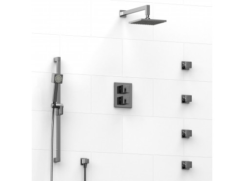 Riobel -double coaxial system with hand shower rail, 4 body jets and shower head - KIT#446MZ