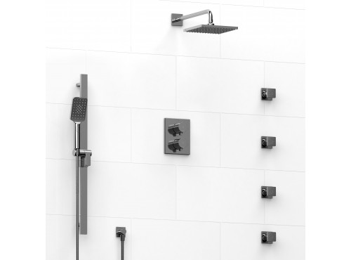 Riobel -double coaxial system with hand shower rail, 4 body jets and shower head - KIT#446PFTQ