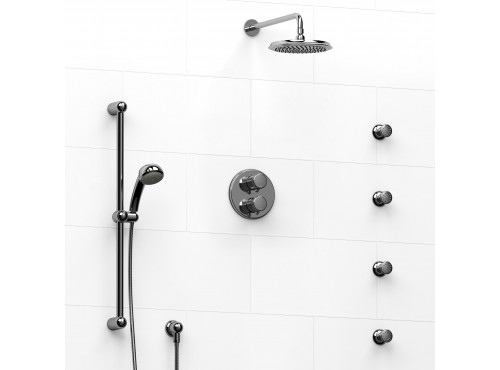 Riobel -double coaxial system with hand shower rail, 4 body jets and shower head - KIT#446PR